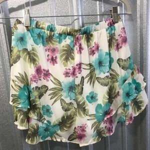 Peach Love turquoise & Purple Ruffle Shorts